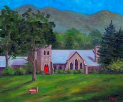 Painting of Grace Episcopal church in Asheville