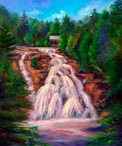 High Falls in Dupont State Park art painting