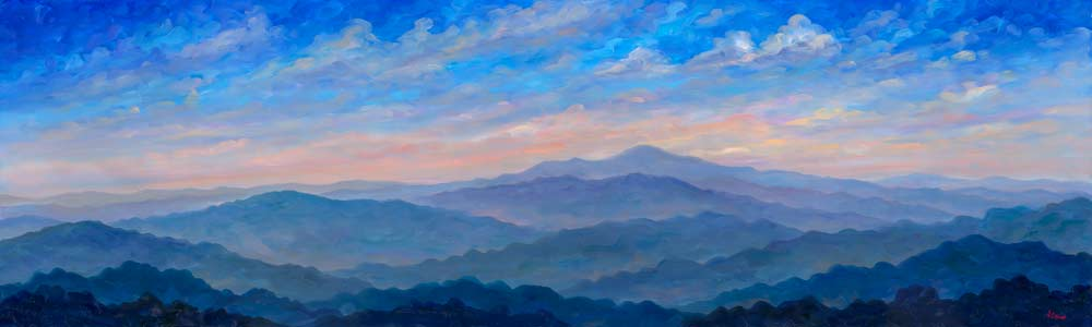 Blue Pisgah Panorama - Blue Ridge Parkway, Jeff Pittman Original Art oil Painting Prints Giclee