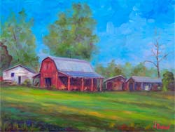Oil painting of Red Barn in Mills River