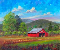 Red Barn in Fruitland Apple Orchard North Carolina