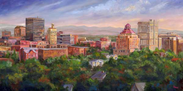 Asheville Skyline oil Painting