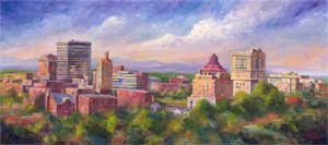 Asheville Skyline Art Painting
