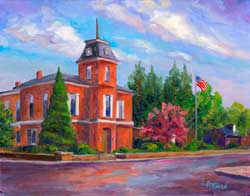 Brevard NC Art Print Painting Courthouse