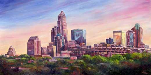 charlotte skyline painting oil on canvas limited