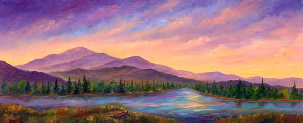 Mountain Lake Oil painting on Canvas Commission