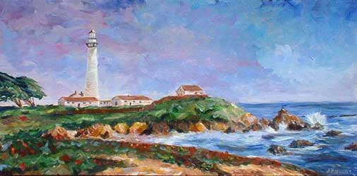 """Pigeon Point Lighthouse"" on the California Coast Oil Painting on Canvas"