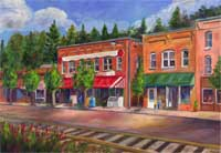 Saluda North Carolina Oil Painting with Railroad tracks