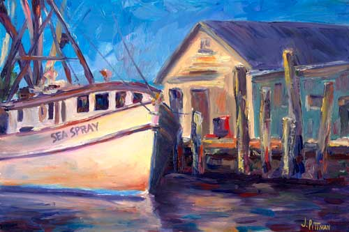 """Sea Spray"" - Shrimper at the Docks of the Oriental Marina - NC Oil Painting on Canvas"